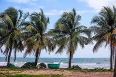 Barche del Vietnam sulla costa Fotografia Stock Libera da Diritti
