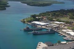 Barche della marina messe in bacino in Pearl Harbor fotografie stock libere da diritti
