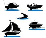 Barche della siluetta illustrazione di stock