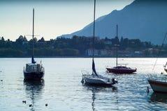 Barche di Como del lago Fotografia Stock