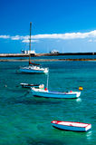 Barche di Fisher a laguna Charco de San Gines, Arrecife Fotografia Stock Libera da Diritti