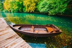 Barche di legno, laghi Plitvice in Croazia Immagine Stock Libera da Diritti