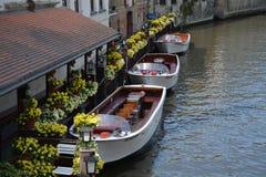 Barche di legno nel canale Fotografia Stock Libera da Diritti