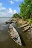 Barche di legno sul fiume Fotografia Stock