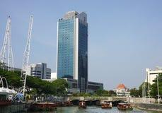 Barche di legno sul fiume in Clark Quay, Singapore Fotografia Stock Libera da Diritti