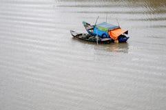 Barche di legno sul fiume nel delta del Mekong, Vietnam Fotografia Stock Libera da Diritti