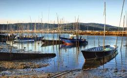 Barche di legno tradizionali in fiume di Lima Immagine Stock Libera da Diritti