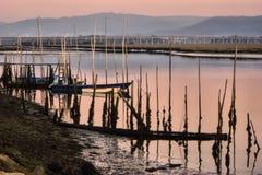 Barche di legno tradizionali in fiume di Lima Fotografia Stock Libera da Diritti