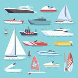 Barche di mare e poche navi di pesca Icone piane di vettore delle barche a vela royalty illustrazione gratis