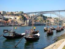 Barche di Oporto sul Douro fotografia stock