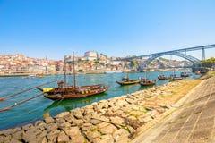 Barche di rabelo di Oporto Fotografie Stock
