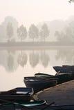 Barche di rematura allo stagno nebbioso Fotografie Stock Libere da Diritti
