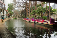 Barche di San Antonio Riverwalk fotografia stock