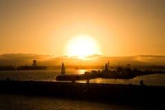Barche di San Diego al tramonto Fotografia Stock
