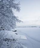 Barche di Snowy e lago coperto di ghiaccio Fotografia Stock Libera da Diritti