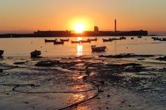 Barche di tramonto Fotografia Stock