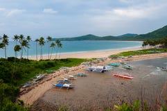 Barche e palme alla spiaggia di sabbia davanti a Immagini Stock Libere da Diritti