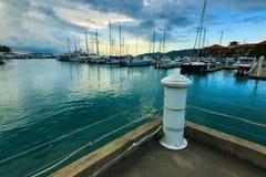 Porto di Sutra al tramonto. Il Borneo, Sabah, Malesia Fotografia Stock