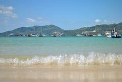 Barche e spiaggia Fotografie Stock Libere da Diritti