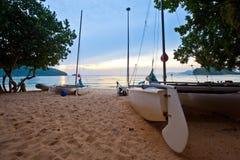 Barche e tramonto Fotografia Stock
