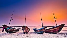 Barche e tramonto Fotografie Stock Libere da Diritti