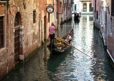 Barche Gondole Venezia. The gondola is a traditional, flat-bottomed Venetian rowing boat, well suited to the conditions of the Venetian lagoon stock photos