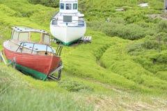 Barche Groenlandia del pescatore fotografia stock libera da diritti