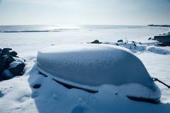 Barche in inverno Fotografia Stock Libera da Diritti