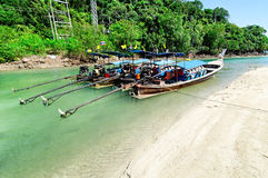 Barche lunghe in Tailandia Fotografie Stock Libere da Diritti