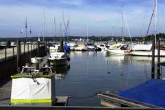 Barche messe in bacino in Lindau, Germania, europa Fotografie Stock Libere da Diritti
