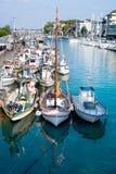 Barche messe in bacino a Rimini Fotografia Stock Libera da Diritti