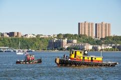 Barche nel fiume hudson Fotografie Stock Libere da Diritti