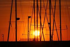 Barche nel porto al tramonto, Fotografia Stock Libera da Diritti