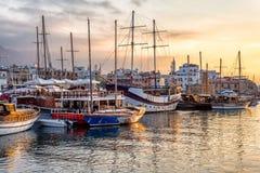 Barche nel porto di Kyrenia Girne cyprus Fotografia Stock