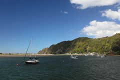 Barche nella baia di Whakatane Immagini Stock Libere da Diritti