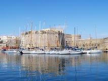 Barche nella porta di Gallipoli Fotografia Stock