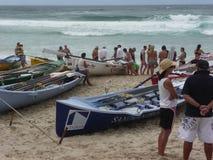 Barche nella prontezza per una corsa della spuma Fotografia Stock Libera da Diritti