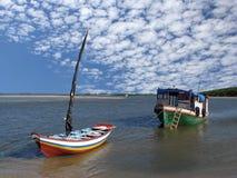 Barche nella spiaggia Fotografia Stock