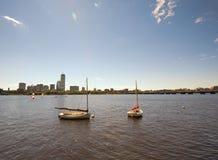 Barche parcheggiate a Charles River, Boston immagine stock libera da diritti