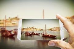 Barche portoghesi tipiche utilizzate nel passato per trasportare il famou Fotografie Stock Libere da Diritti