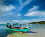 Barche in Sihanoukville Fotografia Stock