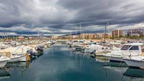 Barche spagnole tipiche in porto Palamos, il 19 maggio 2017 Spagna Fotografia Stock Libera da Diritti