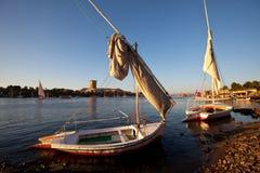 Barche su Nilo Fotografie Stock Libere da Diritti