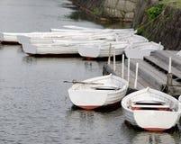 Barche su un lago nell'Hokkaido, Giappone Immagini Stock Libere da Diritti