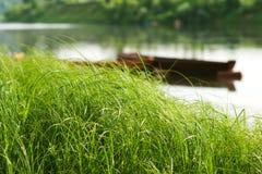 Barche sul fiume Fotografia Stock