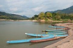 Barche sul fiume di Mekong Immagini Stock Libere da Diritti