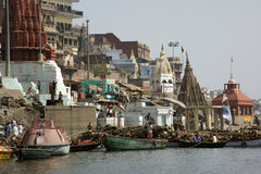 Barche sul fiume Ganga Fotografia Stock