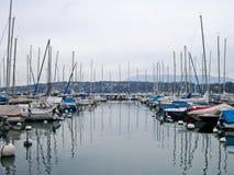 Barche sul lago Lemano, Geneve, Svizzera Fotografie Stock