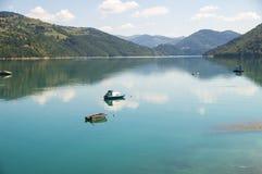 Barche sul lago Zlatar in Serbia Fotografia Stock Libera da Diritti