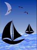 Barche sul mare di notte illustrazione di stock